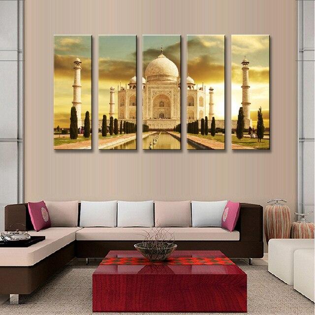 5 Pcs/set Landscape Historical Sites Painting Print On Canvas Modern India  Famous Taj Mahal