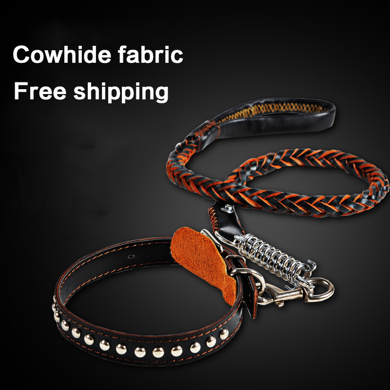 petcircle High Quality Genuine Leather Large Dog Leashes Pet Traction Rope Collar Set For Big Dog
