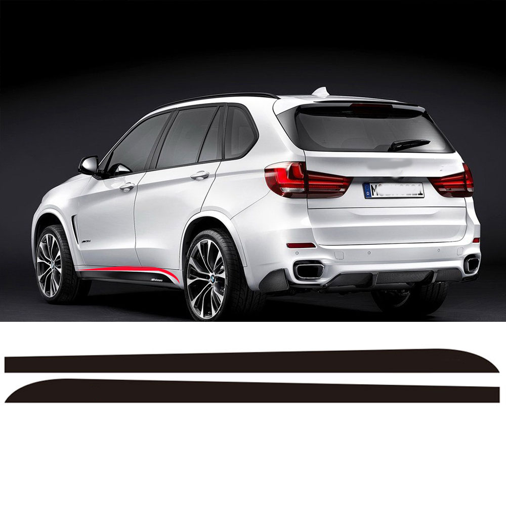 2pieces Skirt Sill Side Skirt Decals Stickers for BMW X5 F15 F85 2014-2016 Racing Stripe M Performance Sticker 5D Carbon fibre hilux racing side stripe graphic vinyl sticker for toyota hilux decals