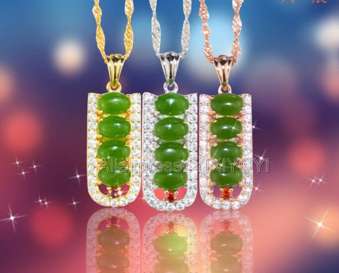 925 Silve Gold Natural Green HeTian Jade Jasper Inl Bean Beads Design Lucky Pendant + Free Necklace Woman's Gift Jewelry