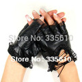 New 2016 women gloves fashion lady spring new mittens lace sheepskin leather gloves women half finger gloves