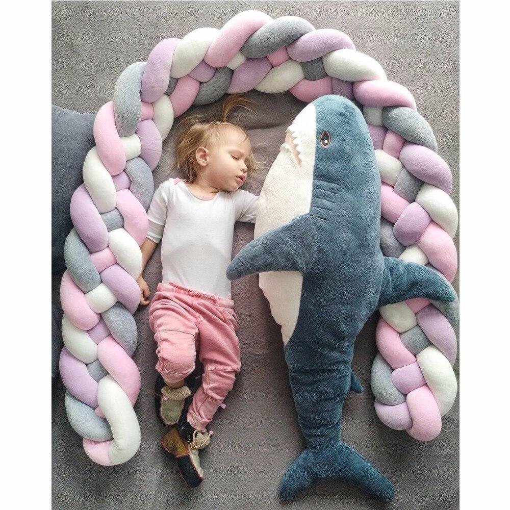 200 см x 17 см детская кроватка бампер завязанная узлом, заплетенная плюшевая детская колыбель декор для новорожденных Подарочная Подушка детская кровать спальный бампер
