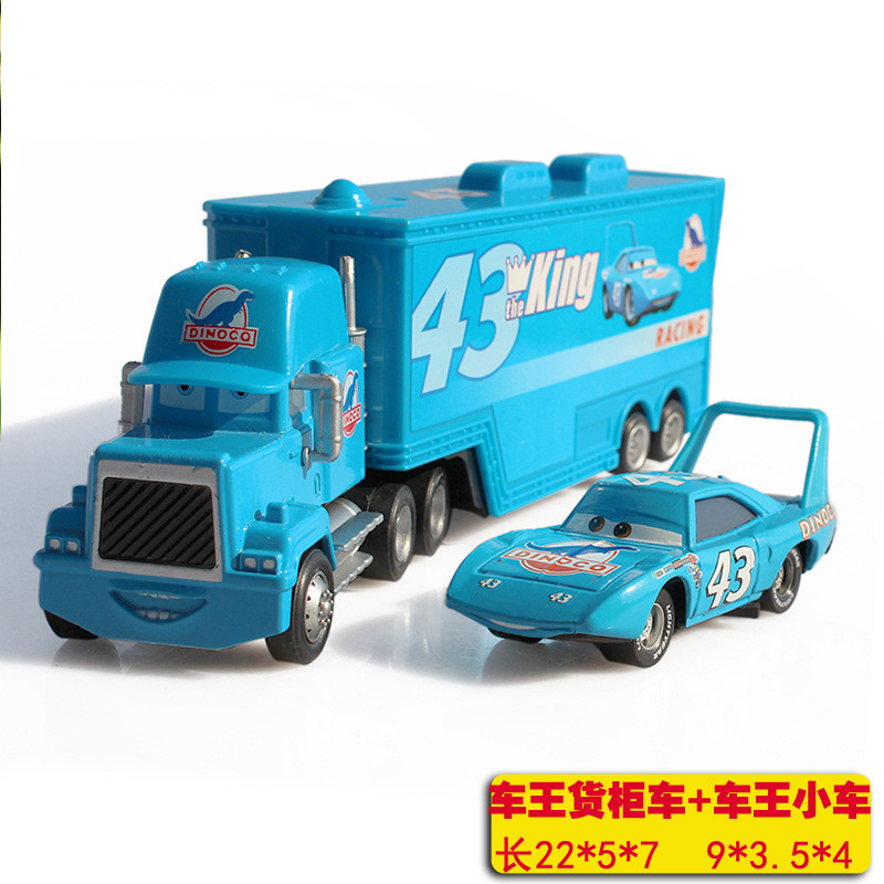 2pcs/Set Pixar Cars Mack Uncle No.43 King <font><b>Blue</b></font> <font><b>Truck</b></font> With Car McQueen Metal Diecast <font><b>Truck</b></font> Combination 1:43 Loose <font><b>Toy</b></font> for Kid