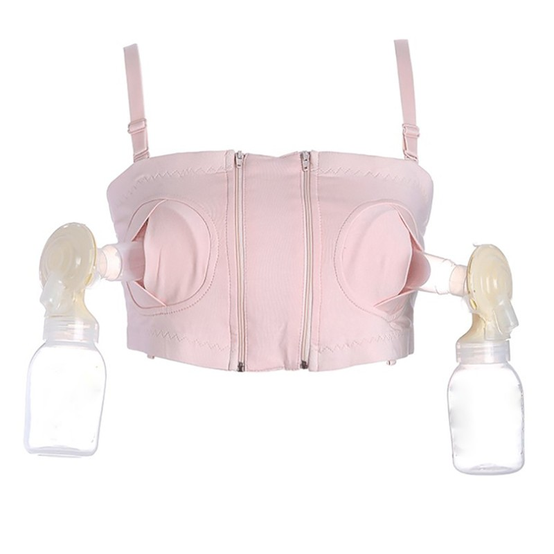 2018 New Maternity Breast Pump Hands-Free Bra Breastfeeding Bra Pumping Milk Bras Cotton Spandex Pink Pregnant Nursing Underwear