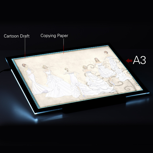 A3 Led Led Light Pad Box Drawing Tracing Tracer Copy Board Table Pad