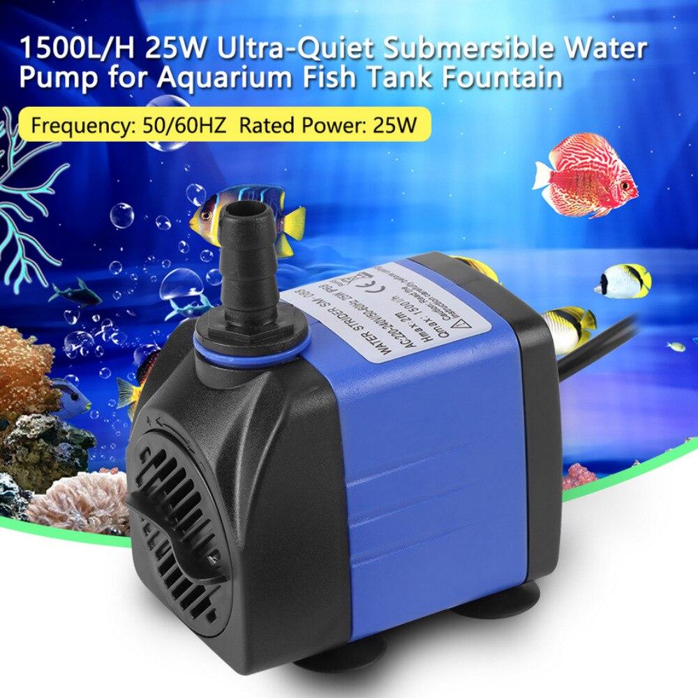 2019 Fish Tank Submersible Water Pump 220V 25W Aquarium Sucking Aeration Pump Round Fountain Pump Filter Fish Pond Aquarium in Water Pumps from Home Garden