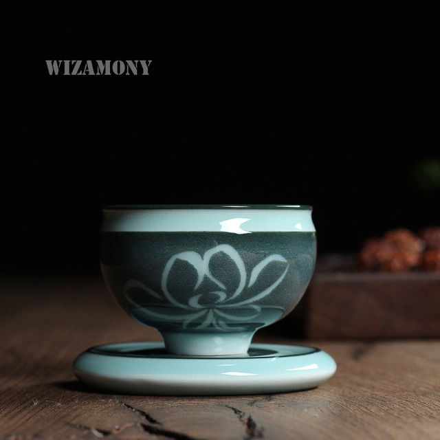 Chinese Longquan Top Grade Celadon China Teacup Tea Bowl75ml One Teacup One Saucer Master Cup For Art Collection By Great Artist