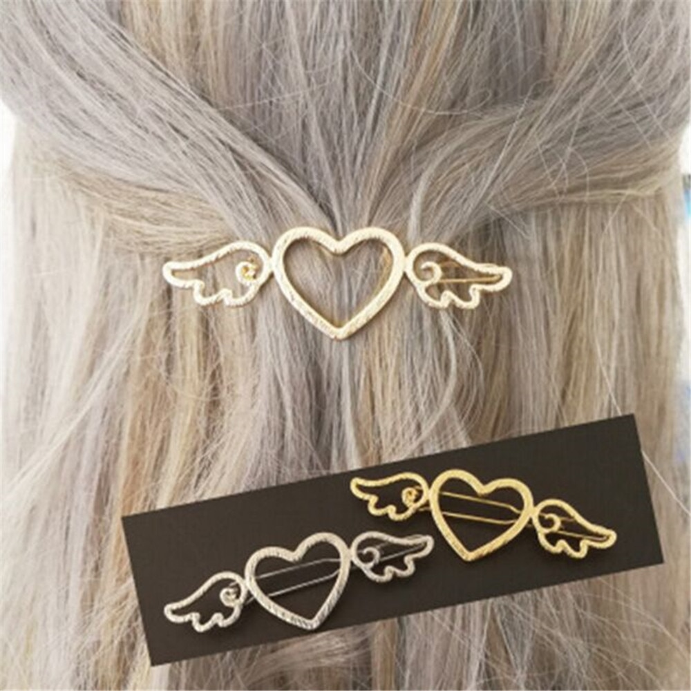 Woman Metal Angle Wings Love Heart Barrette Clips Pin Geometric Alloy Hair Clip Hairgrip Barrette Styling Tool For Girls G0730