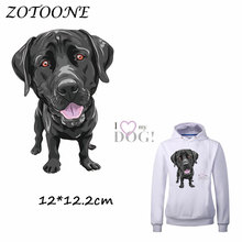 ZOTOONE Lovely Black Dog Patch for Clothes T Shirt Ironing on Patches Stickers DIY Heat Transfer Accessory Washable Appliques C