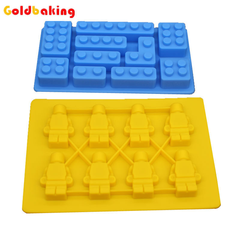 2 Pieces Silicone Lego Minifigure Sweet Candy Tray Bricks Figures Ice Cube Mold Silicon Chocolate Mould - Goldbaking Kitchens Store store