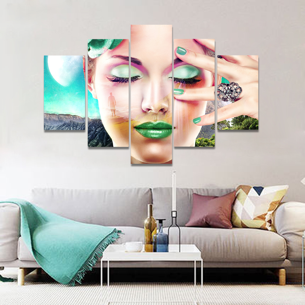 Unframed Canvas Painting Girl Facial Green Lipstick Eye Shadow Picture Prints Wall Picture For Living Room Wall Art Decoration