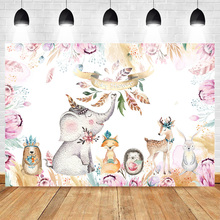 Mehofoto Elephant Theme Baby Shower Photography Backdrops Animal Forest Pink Floral Background Party Banner Photo Booth Backdrop