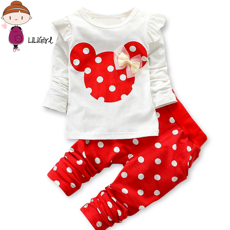 LILIGIRL Baby Girls Sport Clothes Sets for Toddler Cotton Print Mickey T-Shirt+Polka Dot Pants Suit Kids Tops Trousers Cloting print t shirt pants