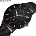 Fashion Simple Stylish Top Luxury Brand GIMTO Watches Men Stainless Steel Mesh Strap band Quartz-Watch Thin Dial Clock Man 2017