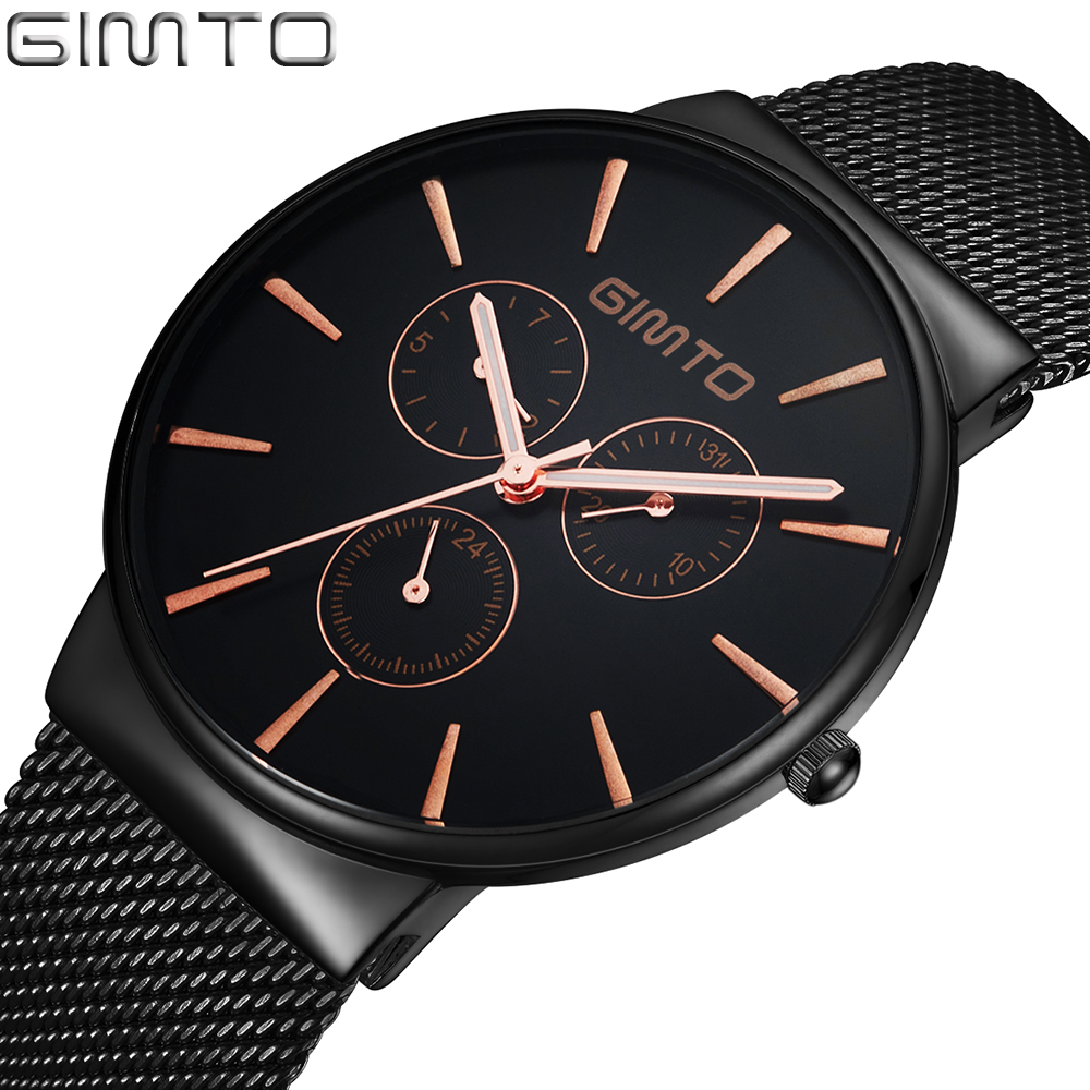 Top Brand GIMTO Luxury Watch Men Stainless Steel Quartz Sport Male Watches Military Clock Fashion Waterproof Wristwatch Relogio gimto top brand luxury men watch leather military male watches big dial calendar quartz wristwatch sport clock relogio masculino