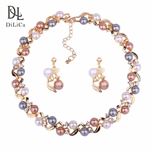 hot deal buy dilica trendy women simulated pearl costume jewelry set engagement party bib choker necklace earrings bridal jewelry sets