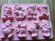 Snow  Princess and Seven Dwarfs mould Silicone mold baking kitchen tool