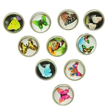 10Pcs Mixed Colors Butterfly Patterns Glass Round Mini Snap Press Buttons Click Charm 12mm