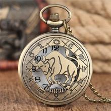 cc44801ca7b Constelações de Touro de Bronze Relógio de Bolso Colar de Cobre Cadeia Das  Mulheres Dos Homens