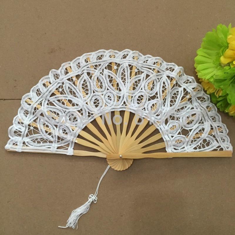 Ventilador blanco de la mano de la boda del ventilador del cordón de - Para fiestas y celebraciones