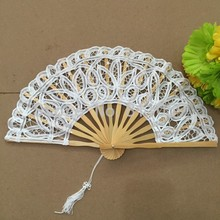 Free shipping 10pcs/lot Battenburg Lace Fan Wedding Hand fan for bride