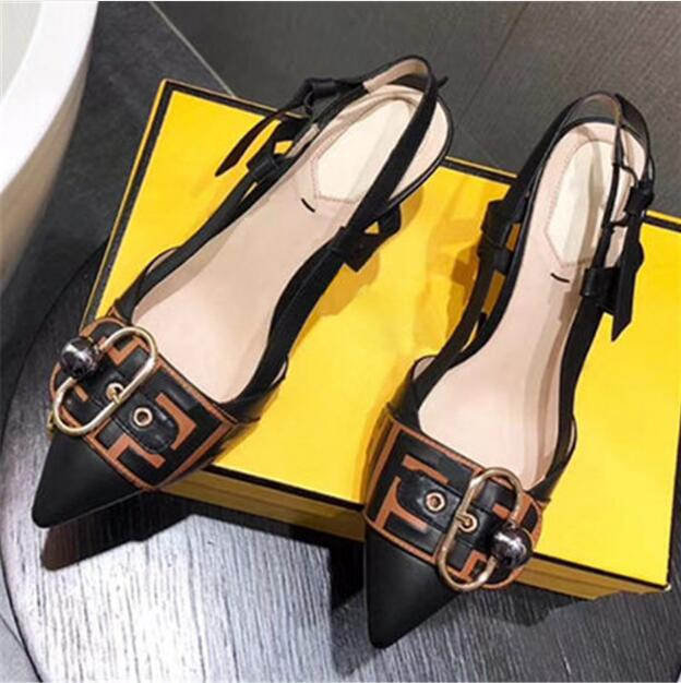 Back Strap Pointy Toe Belt Buckle Sandals Woman New Summer High Heel F Letter Ladies Dress Party Shoes White Wedding Pumps in Women 39 s Pumps from Shoes