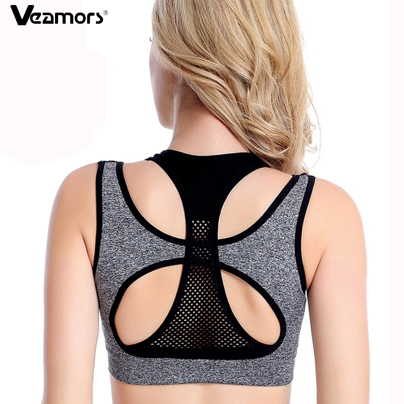 VEAMORS Breathable Mesh Layered Fitness Sports Bra Women Sports Yoga Tops , Gym Yoga Vest Bra Workout Running Push Up Bras