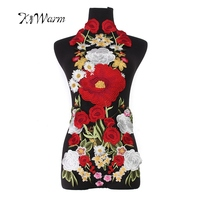 7PCS Large Patches Lace Fabric Flower Embroidery Patches Applique Motifs Sewing Crafts Cloth Cheongsam Ornament Fabric