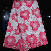 5yards Lot PC91 1 White Fuchsia Pink 100 Cotton African Embroidered Lace Fabric High Class