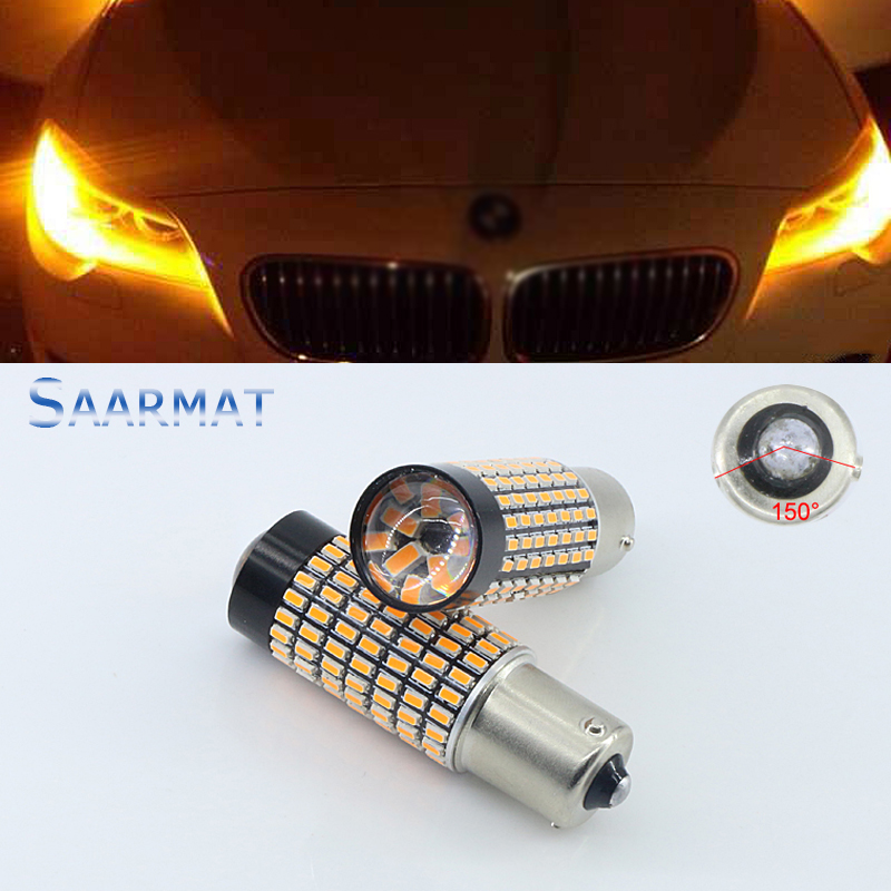 Pair Canbus PY21W 150-Degree 158-SMD Amber Yellow 7507 LED Bulbs For BMW 1 3 4 Series X5 Turn Signal Light ijdm amber yellow error free bau15s 7507 py21w 1156py xbd led bulbs for front turn signal lights bau15s led 12v