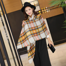 2017 Tartan Plaid Scarf Winter Pashmina Beige Women Cozy Checked Blanket Oversized Wrap Shawl Hijab Acrylic
