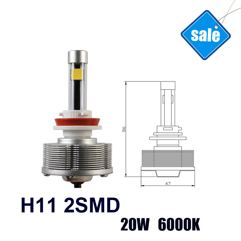 NEW H11 2SMD Auto led Fog Light Light Sourcing Factory Direct Super Bright 20W 6000K LED Cars Bulbs