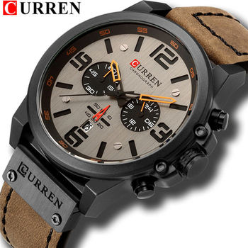CURREN Men's Sport Military Genuine Leather Chronograph Calendar Date Waterproof Quartz Watches