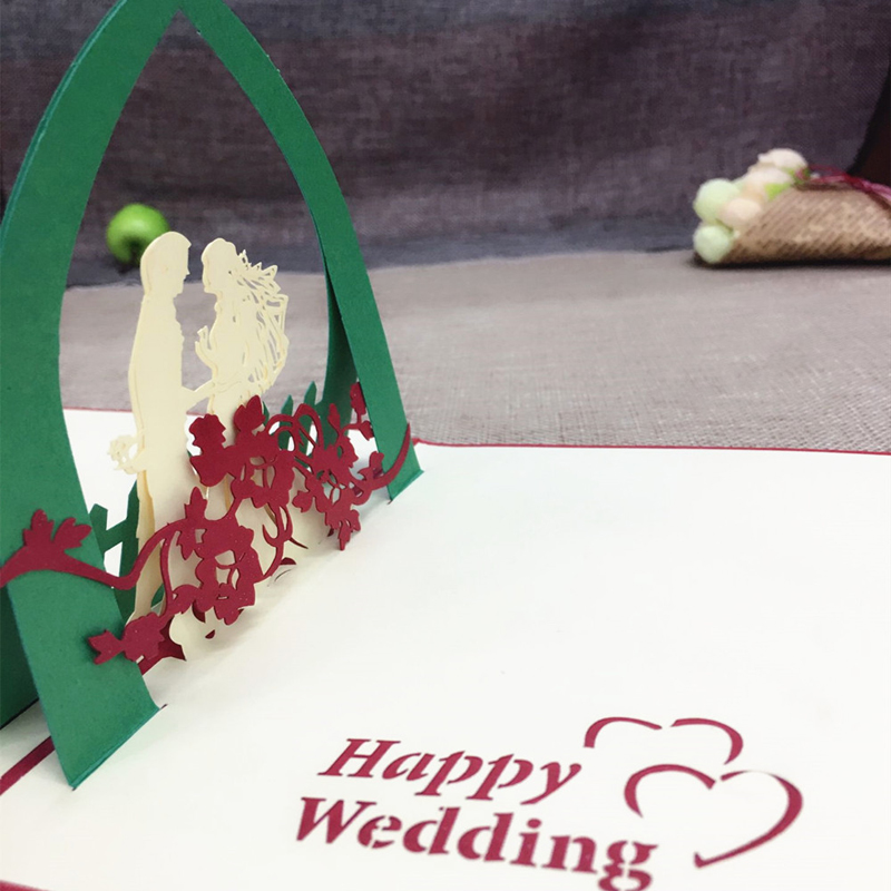 1pcs Sample 3D Laser Cut Paper Greeting Pop Up Kirigami Card Bride and Groom Wedding Invitation Valentine's Day Postcards Gifts (2)