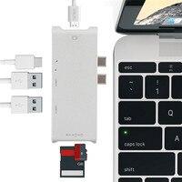 アップグレード新しいタイプ-cハブデュアルコネクタUSB-Cコンバータhdmi 4 k出力usb 3.0ハブカードリーダー用コンピュータpcラップトップ高品