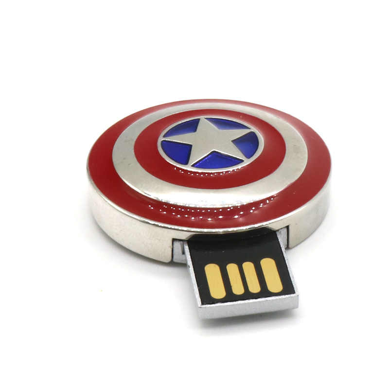 Đèn LED cổng USB Captain America Shield bút ổ đĩa USB 2.0 Bộ Nhớ 4 GB 8 GB 16 GB 32 GB thẻ nhớ Thích Hợp làm Quà Tặng
