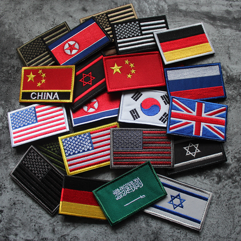 1 PC fabric patch China Germany USA Israel World country Flag Patch Sew on Clothes Armband Backpack Sticker DIY Accessories(China)