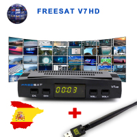 Freesat V7 HD CCcam Satellite Receiver +1 Year Europe Spain CCam 7 Cline Server+1 USB WIFI DVB S2 Receptor Satellite HD Receiver