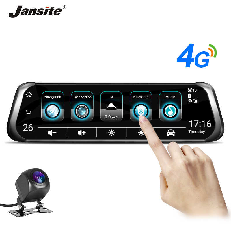 "Jansite 10"" 4G WIFI Car DVR Touch Screen Dual Lens Android GPS Navigation Mirror of Rear View Car Cameras ADAS Monitor Bluetooth"