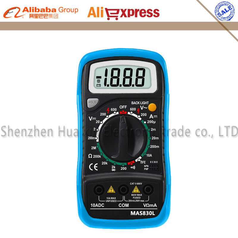 Mini Handheld LCD Display Multimeter DC Current Tester Backlight Data Hold Continuity Diode Test MAS830L