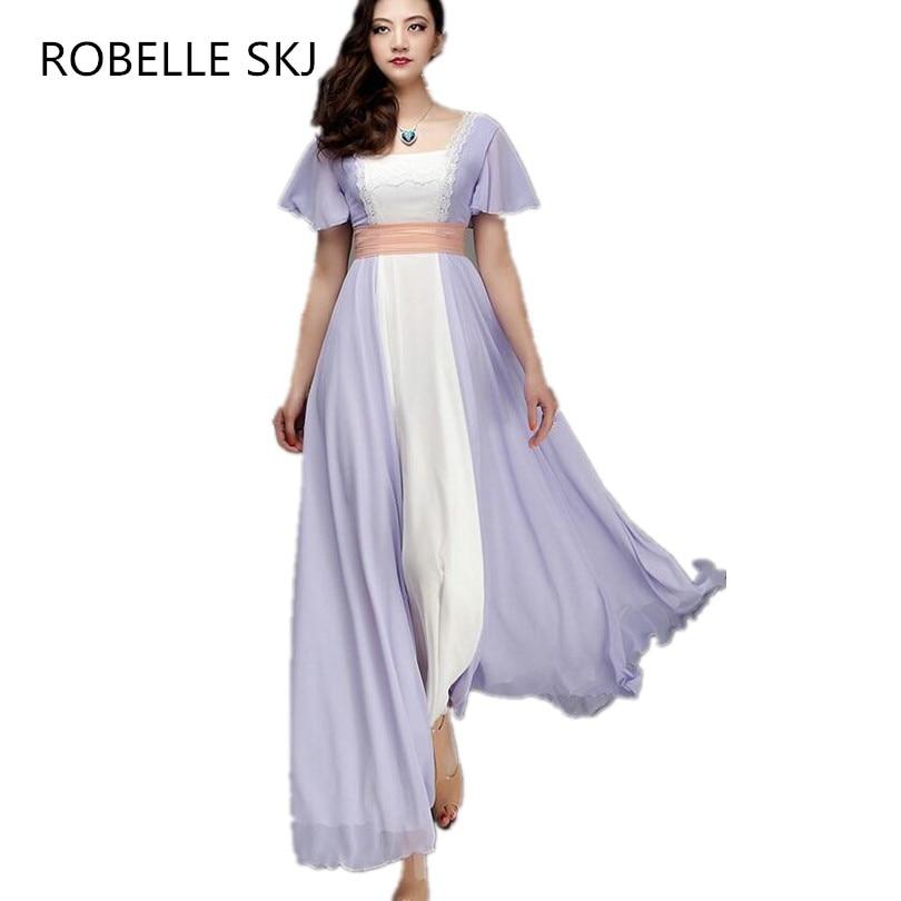 Vestidos Titanic Rose Chiffon Prom Dress Evening Dress Costume Gown Women Maxi Dress Real Image High