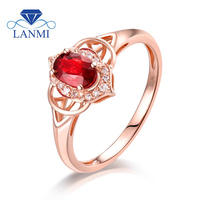 Real 14K Rose Gold Natural Ruby Ring Oval Luxury Diamond Wedding Engagement Genuine Gem Thanksgiving Jewelry Gift for Mom