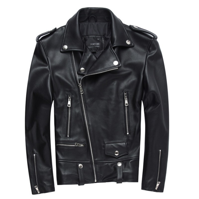 Новая овчина мотоциклетная куртка из натуральной кожи мужская куртка с отложным воротником с блестками байкерская куртка на молнии черная короткая куртка из натуральной кожи - Цвет: Black