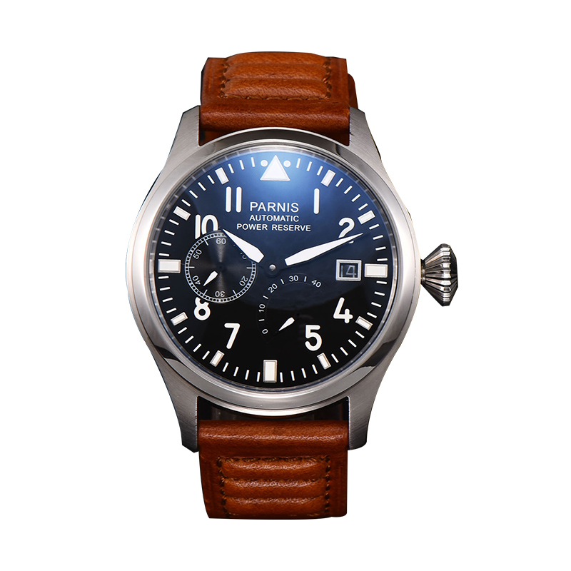 47mm Automatic Men Watch Merchanical Power Reserve Big Pilot Man Luxury Leather Strap Calendar  Auto Date Crystal Parnis Brand