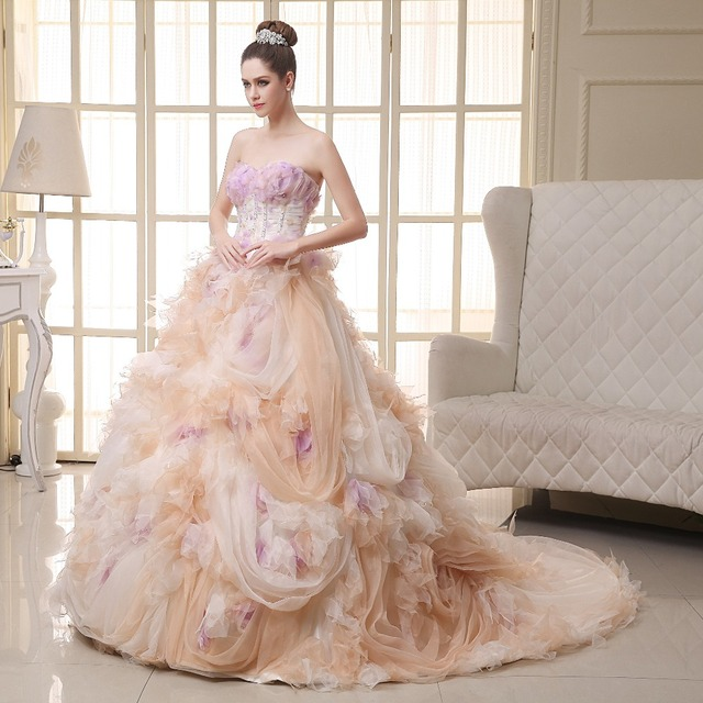 Light Pink Wedding Dress Luxury Robe De Mariage Princesse Traine Strapless Ball Gown Dresses With