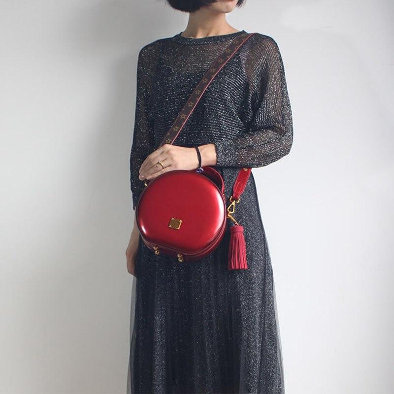 BENVICHED Das Senhoras saco de couro Real Rodada 2019 nova moda Pure color bolsa único saco de ombro de couro saco de Patente Brilhante c376 - 4