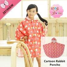 Rain Jacket Children Hooded Raincoat Poncho Outside Coat Kids Cartoon Rabbit Girls Waterproof Polyester