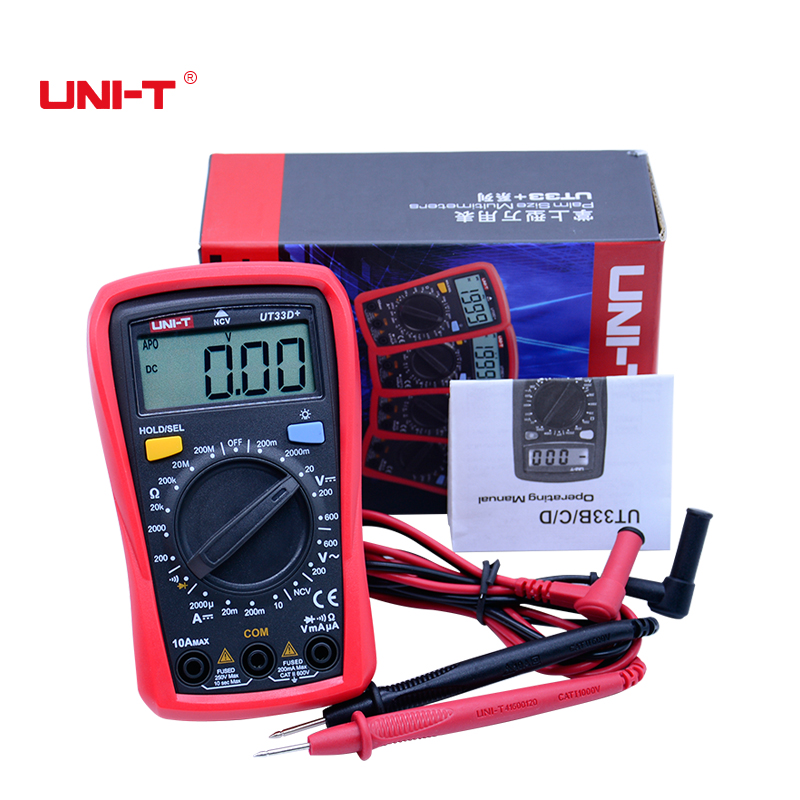 UNI-T UT33 Series Palm Size Digital Multimeters Professional Electrical Handheld Ammeter Multitester With Backlight Data Hold