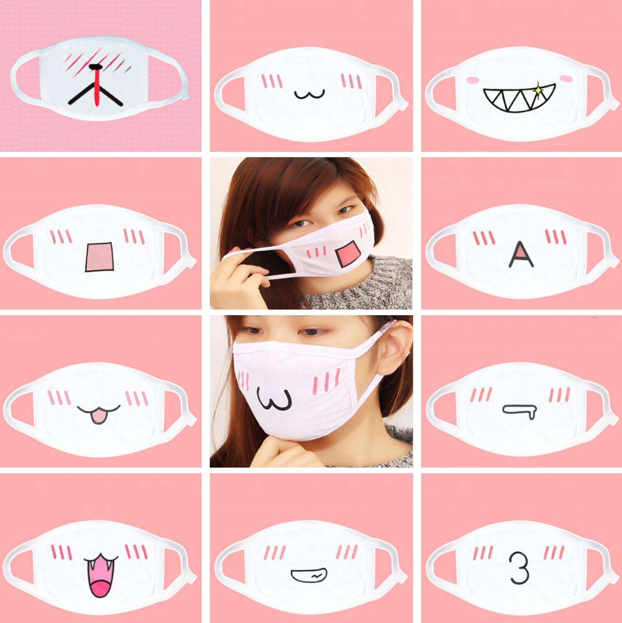 Cotton Dustproof Mouth Face Mask Unisex Korean Style Kpop Black Emotiction Anti-Dust Cotton Facial Protective Cover Masks