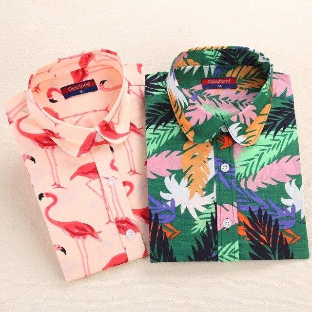 Dioufond Фламинго печати Рубашки для мальчиков Для женщин хлопок цветочные Блузка Зеленый лист Повседневное Топы корректирующие с длинным рукавом женский рубашка Осенняя Дамская blusas